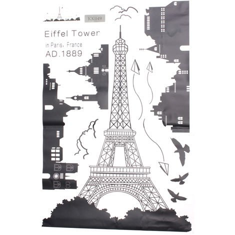 Vinilos Decorativos 60X90Cm De Torre Eiffel Decoración Del Hogar Dormitorio