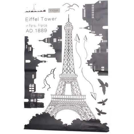 Vinilos Decorativos 60X90Cm De Torre Eiffel Decoración Del Hogar Dormitorio LAVENTE