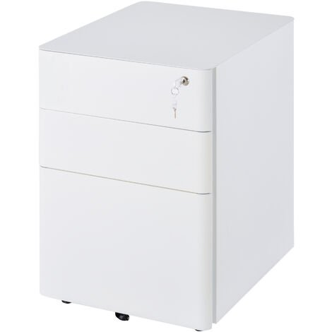Vinsetto 3 Draw Metal Filing Cabinet Lockable 4 Wheels Compact Under Desk White