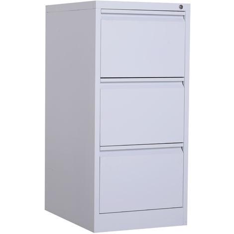 Vinsetto 3-Drawer Vertical File Cabinet Steel Storage Lockable Office Organisation