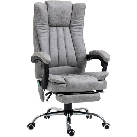 Vinsetto 6-Point Vibrating Heat Massage Chair PU Leather Footrest Padding Grey