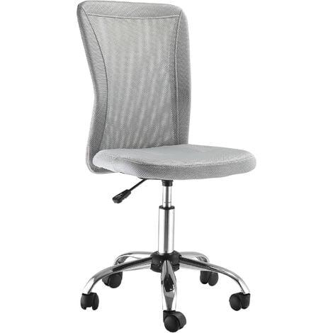 Vinsetto Armless Office Chair Ergonomic Height Adjustable Mesh Back 5 Wheel Grey