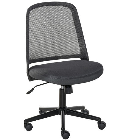 Vinsetto Armless Office Swivel Chair Work Leisure Seat w/ Mesh Back Wheels Grey