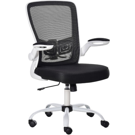 """main image of """"Vinsetto Chaise de bureau ergonomique hauteur réglable pivotante 360° accoudoirs relevables tissu maille bicolore noir blanc - Noir"""""""