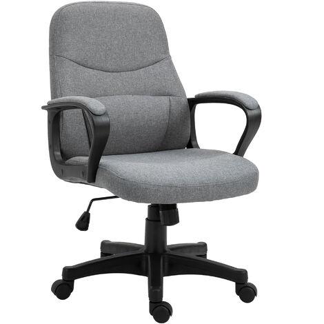 """main image of """"Chaise de bureau massante pivotante hauteur réglable tissu lin"""""""