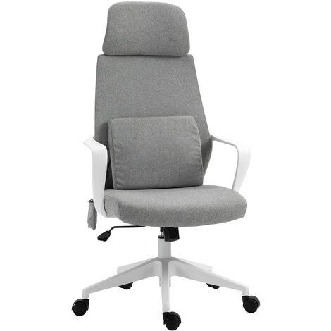 """main image of """"Vinsetto Chaise de bureau tissu fauteuil bureau massant coussin lombaire intégré hauteur réglable pivotante 360° gris"""""""