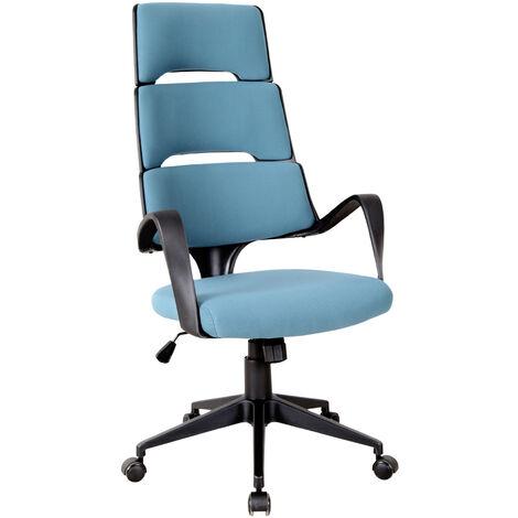 Vinsetto® Chefsessel Bürostuhl Leinen Blau Schwarz - blau/schwarz