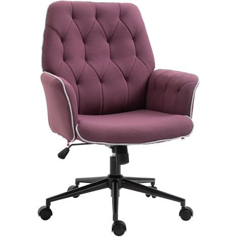 Vinsetto Computer Office Chair Adjustable Height Arms Tufted Back Padded Coffee