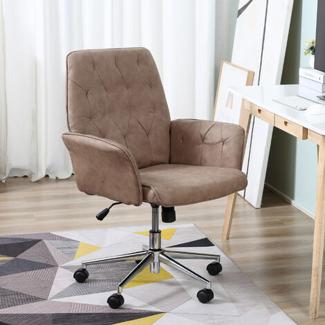 Vinsetto Computer Office Chair Adjustable Height Arms Tufted Back Padded Light Grey