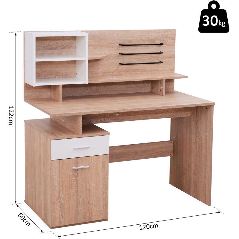 Vinsetto Computer Writing Desk Storage Shelves Home Office PC Laptop Study  Table Cupboard Workstation Oak