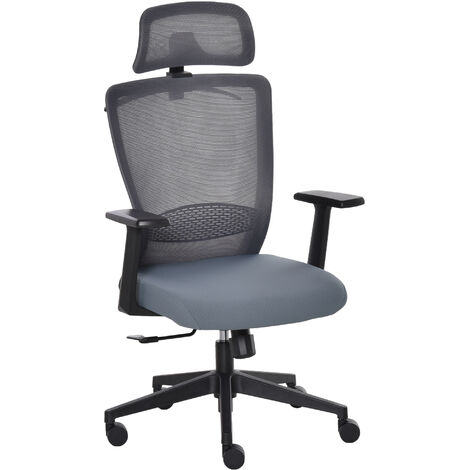 Vinsetto Ergonomic Curved Mesh Home Office Chair w/ Padded Seat Headrest Grey