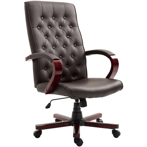 Vinsetto High Back Executive Office Chair Adjustable Computer Seat Ergonomic Bonded Leather - Brown