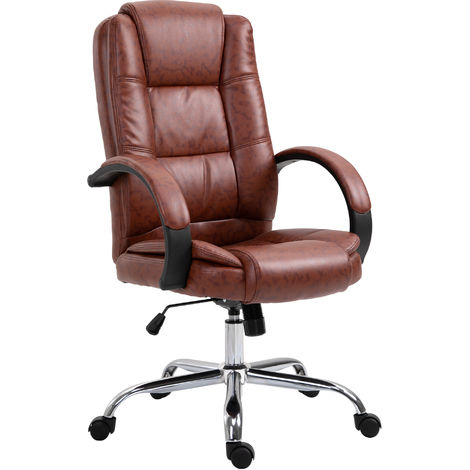 Vinsetto High Back Executive Office Chair Ergonomic Adjustable Computer 360° Swivel PU Leather Seat Brown