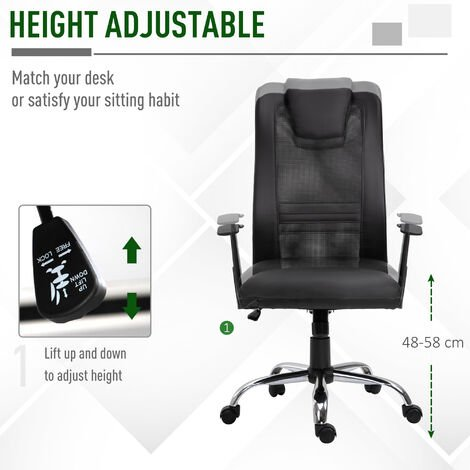 Vinsetto High Back Mesh Office Chair Swivel Ergonomic Task Executive Seat Adjustable - Black