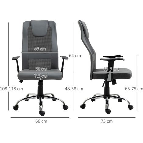 Vinsetto High Back Mesh Office Chair Swivel Seat Ergonomic Adjustable - Grey