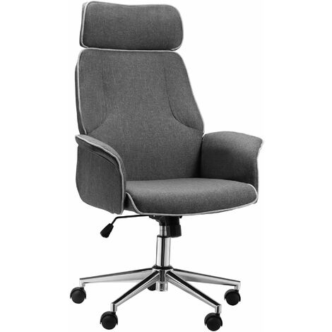 """main image of """"Vinsetto High Back Office Chair w/ Wheels Linen Upholstery 5 Wheels Grey"""""""