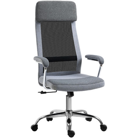 Vinsetto Linen-Look Office Chair Mesh Fabric High Back Swivel Computer Task Desk Seat