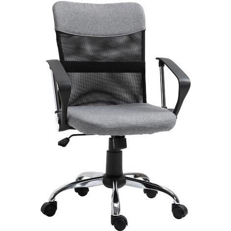 Vinsetto Linen & Mesh Mix Swivel Office Chair Ergonomic Home Seat w/ Wheels Grey