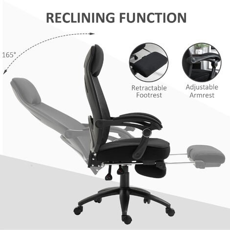Vinsetto Mesh Back 360° Swivel Chair Recliner Adjustable Height w/ Footrest