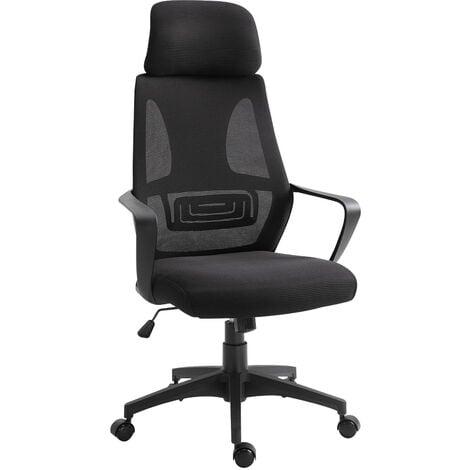 Vinsetto Mesh Back Ergonomic Office Chair w/ Footrest 5 Wheels Armrests Black