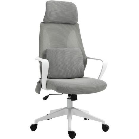Vinsetto Mesh Office Chair & Massage Pillow Ergonomic Adjustable Height w/ Wheel