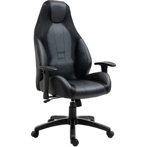Vinsetto Office Chair 360° Swivel Chair Adjustable Height and Armrest PU Black