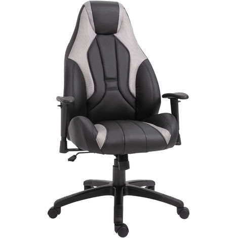 Vinsetto Office Chair 360° Swivel Chair Adjustable Height and Armrest PU White