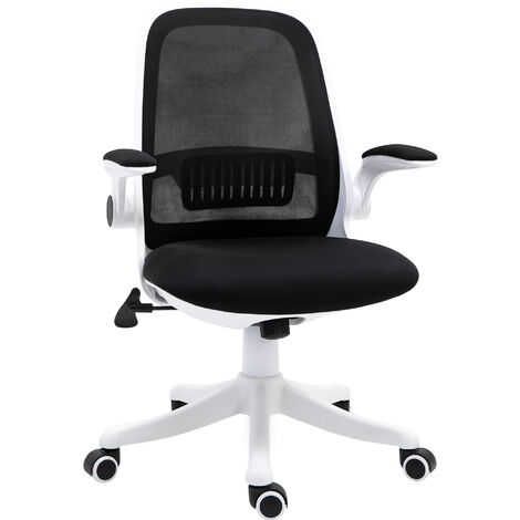 Vinsetto Office Chair Breathable Fabric Rocker with Liftable Armrest Home Black
