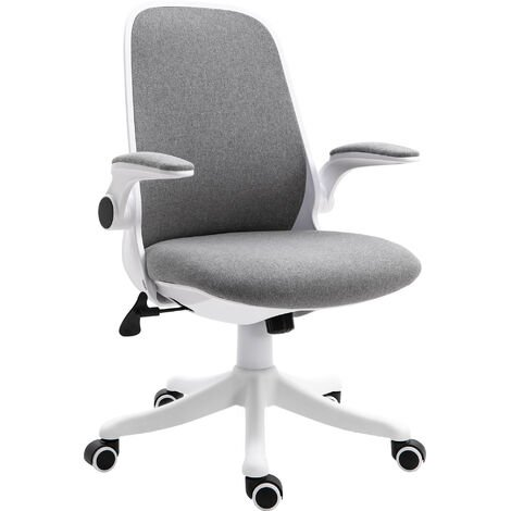 Vinsetto Office Chair Breathable Fabric Rocker with Liftable Armrest Home Grey