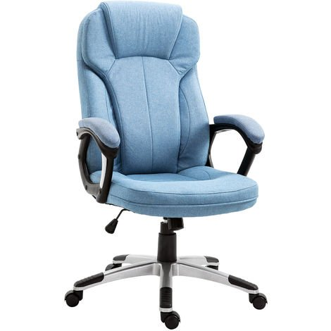 Vinsetto Padded Linen Executive Office Gaming Chair Adjustable Height w/ Wheels Blue