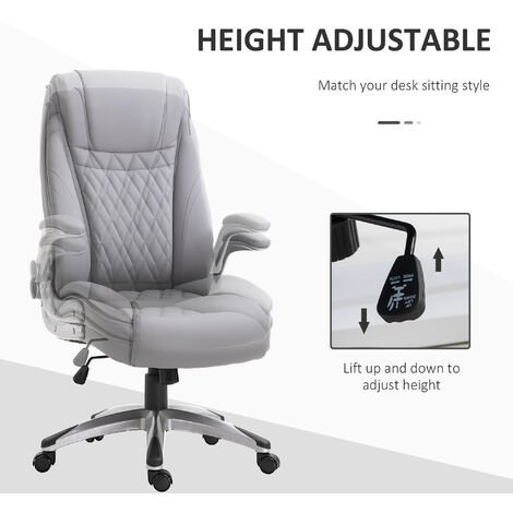 """main image of """"Vinsetto PU Leather Executive Office Chair 360° Adjustable Height Rocking Grey"""""""