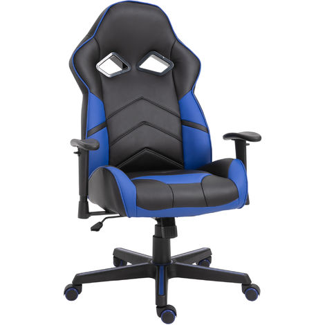 Vinsetto PU Leather Gaming Chair Stylish Blue Panels Swivel 5 Wheels Blue