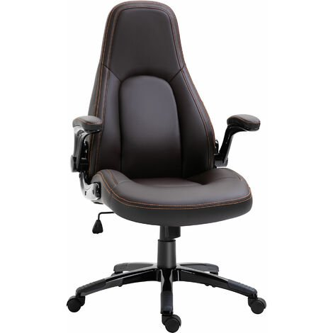 Vinsetto PU Leather Office Chair 360° Swivel Home Office w/ Contrast Stitching Black
