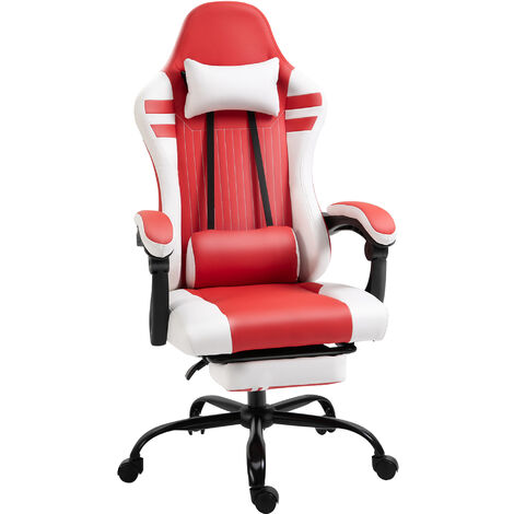 Vinsetto PU Leather Racing Gaming Chair w/ Wheels Pillow Manual Footrest Red