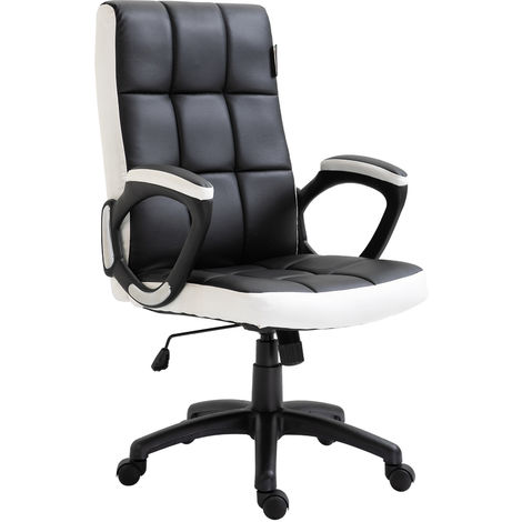 Vinsetto PU Swivel Leather Office Game Study Chair High Back Adjustable Height Black