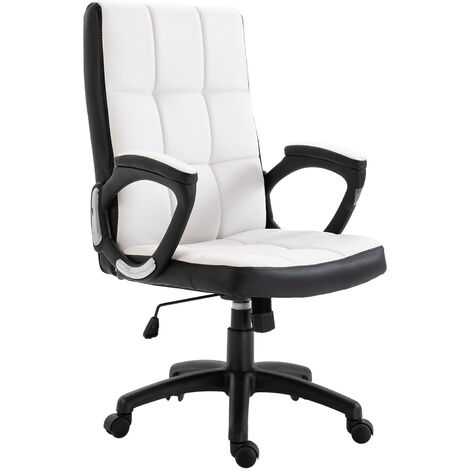 Vinsetto PU Swivel Leather Office Game Study Chair High Back Adjustable Height White