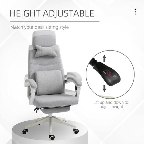 Vinsetto Reclining Office Chair Gaming Chair with Footrest Height Adjustable Grey