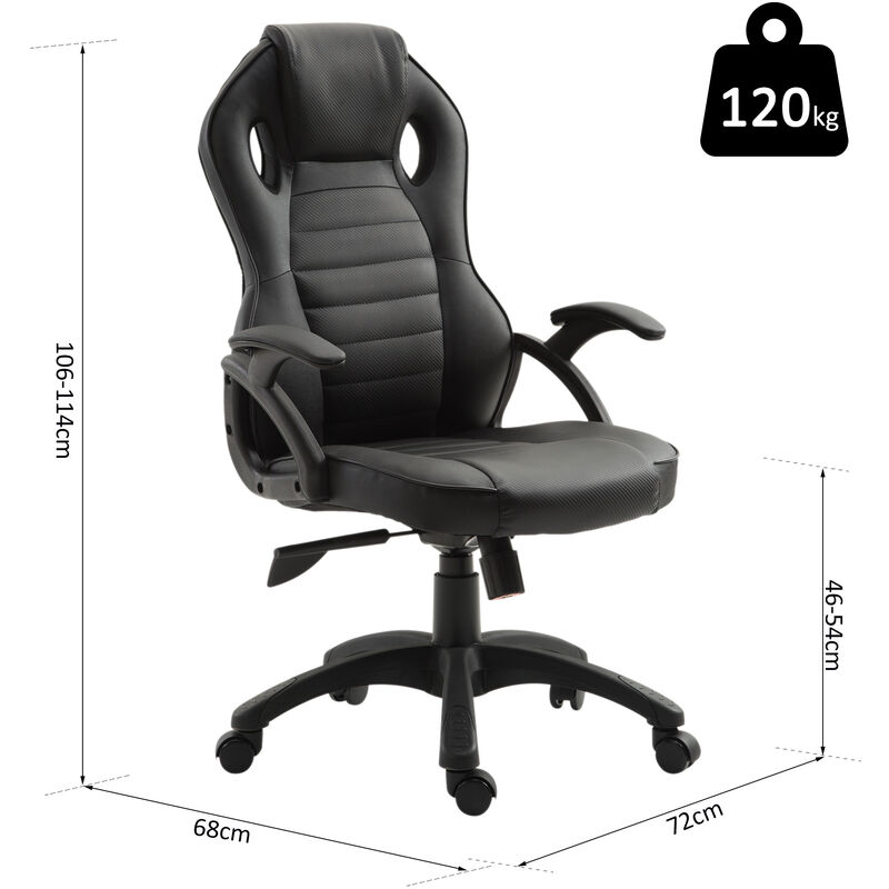 Sedia Da Computer Ergonomica.Vinsetto Sedia Da Ufficio Ergonomica Regolabile In Pelle Pu Nero
