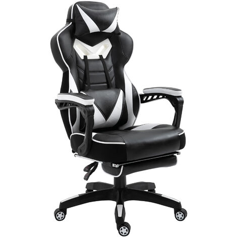 Vinsetto Stylish Racing Chair Recliner w/ Footrest Padding Pillows Wheels White