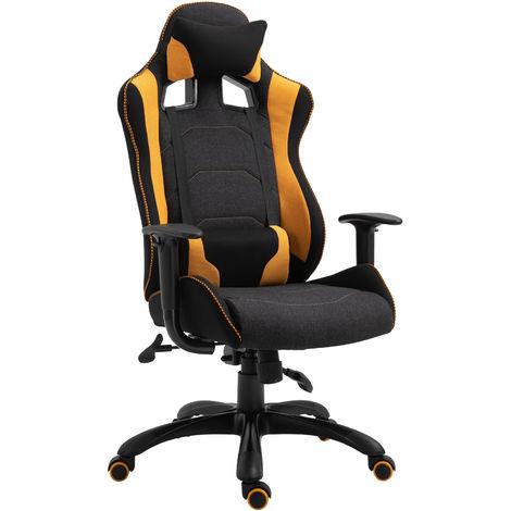 Vinsetto Stylish Racing Gaming Chair Yellow Panel 360° Swivel Adjustable Height