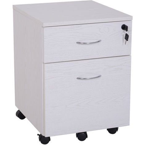 Vinsetto Two Draw Filing Cabinet Home Office Storage Lockable w/ Castors White