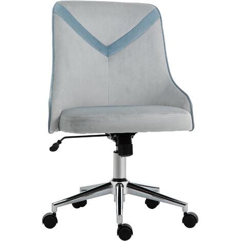 Vinsetto Velvet-Feel Armless Home Office Leisure Chair w/ Padded Seat Blue
