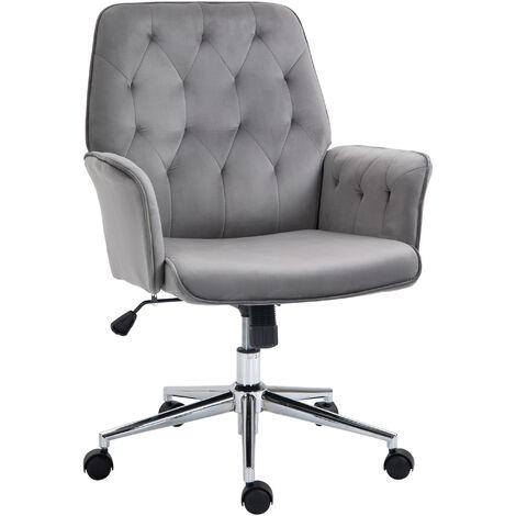 Vinsetto Velvet-Feel Fabric Office Swivel Chair Mid Back Computer Desk Seat Deep Grey