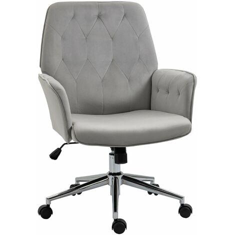 Vinsetto Velvet-Feel Fabric Office Swivel Chair Mid Back Computer Desk Seat Light Grey