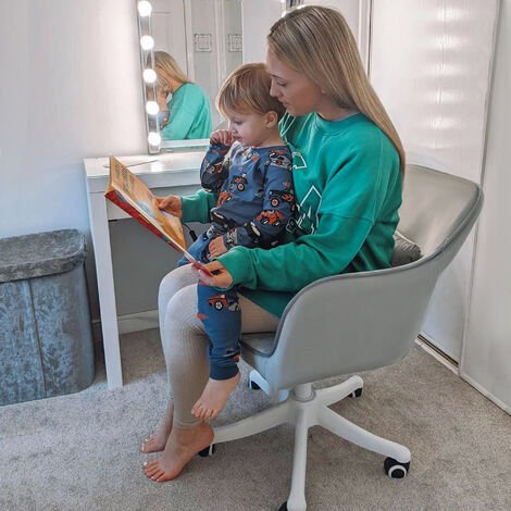 """main image of """"Vinsetto Velvet-Feel Tub Office Chair w/ Massage Pillow Adjustable Height Grey"""""""