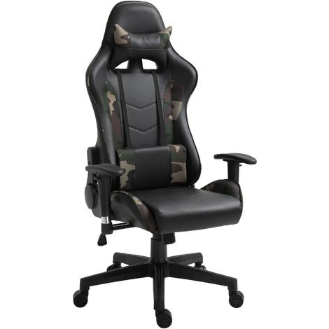 Vinsetto Vibrating Massage Computer Gaming Chair Reclining Seat Wheels Green