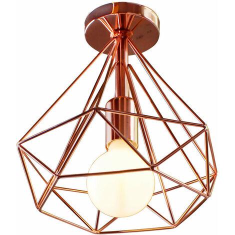 Vintage 25cm Diamond Rose Gold Ceiling Lamp Metal Cage Industrial Ceiling Light Creative Chandelier