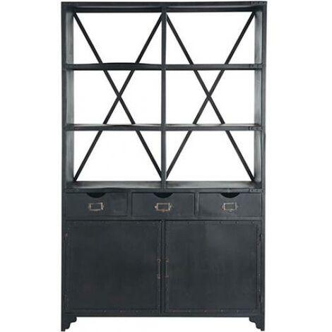 Vintage aged bookshelf industrial steel drawers Black