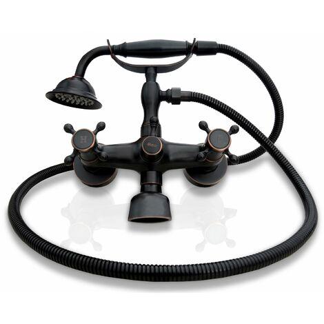 Vintage Bath Tap Mixer Bathroom Faucet Retro Old Black with Shower Head