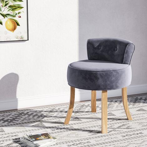 Vintage Bedroom Dressing Table Stool Velvet Vanity Chair with Wooden Legs Grey